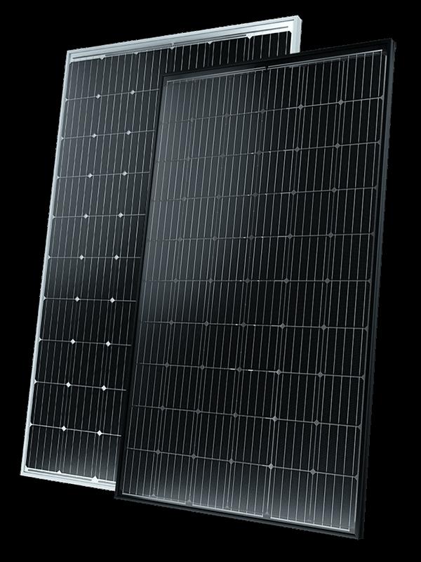 Solarwatt black and silver framed solar panels